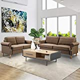 LinkRomat 2 Pieces 2 Pcs Morden Style Living Room Set Couch Loveseat Home Furniture Sofas, Dark Brown