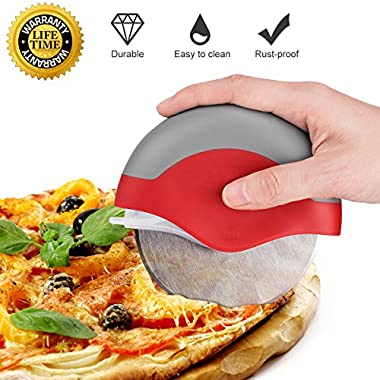Pizza Cutter Wheel Slicer Pizza Knife Stainless Steel Easy Clean Dishwasher Safe Large Professional for Non Stick Heavy Duty with Protective Cover