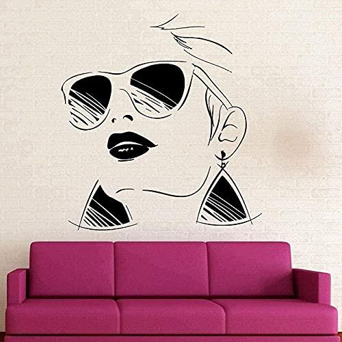Calcomanía de pared decorativa pegatina de pared estilo gafas chica vinilo calcomanía salón de belleza hogar salón pared pegatina Mural 85X69cm