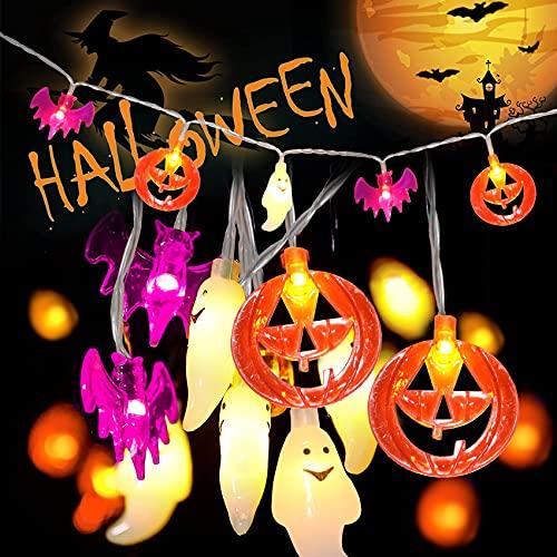 Luci Della Stringa Di Halloween, 3M 20 Led Luci Di Halloween Con Pumpkin Ghost Bat, Halloween Catena Luminosa Con 2 Modalità Di Luci Tremolanti, Luci Di Decorazione Di Halloween Per Halloween Party