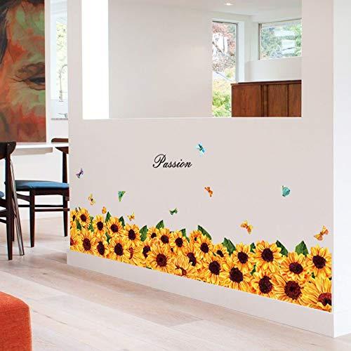 Dalao muurstickers, zonnebloemvoet, kast, veranda, glazen deur en vensterkast, wanddecoratie