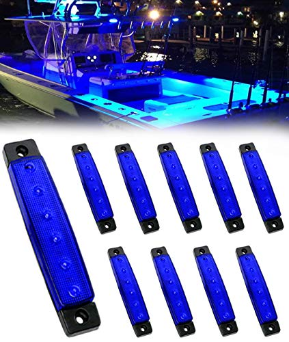 Shangyuan Marine Boat Lights, Utility Led Interior Lights for Deck Courtesy Transom Cockpit Light, 12v Waterproof Marine Lighs for Yacht Fishing Pontoon Boat Sailboat Kayak Bass Boat, Blue, 10PCS