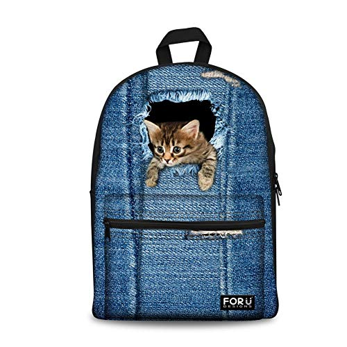 Novelty Kids Backpack Ripped Jeans Cat Print Teen Girls Boys Shoolbag Daypack