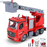 Fire Trucks for Boys, DIY Assemble Toy Play Vehicles with Light and Sound, Presents for Kids Toddlers Children Age 3 4 5 6 and Up