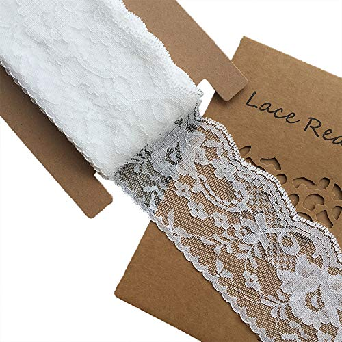 LACE REALM 3 inches Wide x 10 Yards White Floral Pattern Trim Lace Ribbon for Decorating, Floral Designing and Crafts(10y)