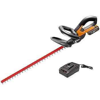 WORX 20V Akku-Heckenscheren WG260E.5, PowerShare, 2,0 Ah, Dual Schnittklingen 61cm für gleichmäßige Schnitte, reduzierte Vibrationen, Schutzköcher, 2200 /min, 1Std. Schnellladegerät, 18V