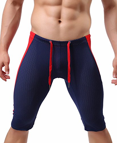BRAVE PERSON Sexy Transparent Gauze Sports Shorts Cool Summer Swim Trunks Fitness Pants 2228 (M, Navy)
