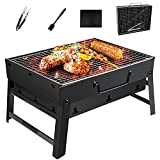 Barbecue Grill Portable <span class='highlight'>BBQ</span> <span class='highlight'>Charcoal</span> Grill With Stainless Steel <span class='highlight'>BBQ</span> Wire Mesh Foldable Table Coal Garden Travel Camping Folding Grill (3-5 People,Black)