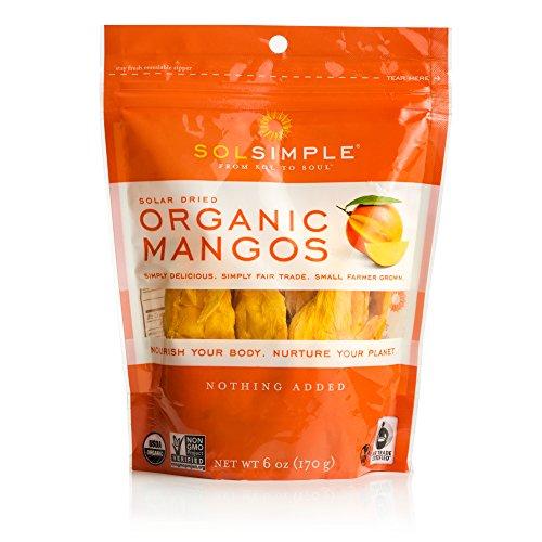 Sol Simple Solar Dried Mango Snack, Ethical Trade From Nicaraguan Smallholder Farmers, Gluten & Preservative Free, No Sugar Added, USDA Organic, Non-GMO, Vegan & Kosher, 6oz, Pack of 2