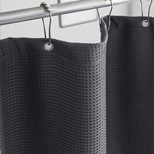 """Whale Flotilla Waffle Weave Gray Shower Curtain Set, 230GSM Heavy Duty Fabric Shower Curtain for Bathroom/Home/Hotel with 12 Metal Roller Hooks, Waterproof and Machine Washable - 72"""" W x 72"""" H"""