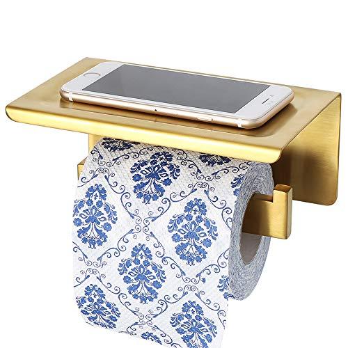 Sayayo Toilettenpapierhalter Rollenhalter mit Ablage, optional selbstklebend oder Schrauben montiert, SUS-304 Edelstahl Golden Finish, EGYT5000-G