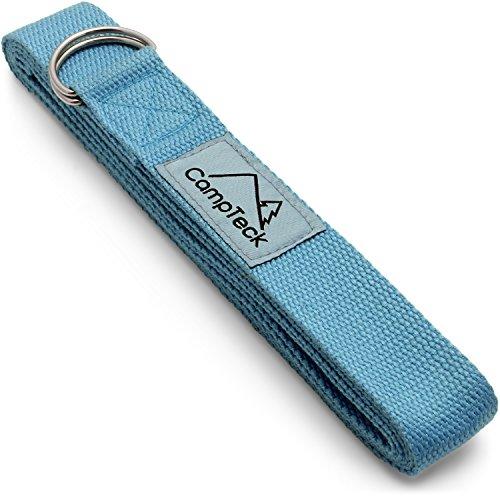 CampTeck U6823 Cinghia Yoga Anello D Poliestere Yoga Strap Regolabile, Posture, Stretching, Flessibilità, Allineamento, Resistenza per Pilates, Yoga, Fitness ed Esercizio - Blu 243cm