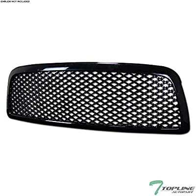 Topline Autopart Black Mesh Front Hood Bumper Grill Grille ABS For 09-12 Dodge Ram 1500
