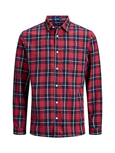 JACK & JONES Herren Jorjake Shirt Ls Org Freizeithemd, Blau (Brick Red Fit: Comfort), Large (Herstellergröße: L)