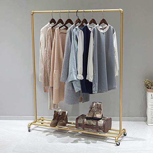 FURVOKIA Perchero industrial para ropa, de tubos, estilo vintage, organizador de armario, decoración Steampunk (dorado)