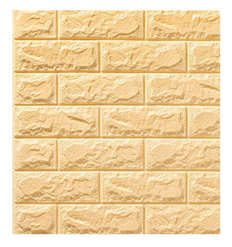 Decoración de pared de fondo de ladrillo de imitación 3D, pegatinas de pared autoadhesivas de arte 3D, revestimiento de dormitorio de cocina impermeable e insonorizado para el(Color:Beige,Size:20pcs)