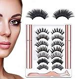 Magnetic Eyeliner Magnetic Eyelashes Falses Eyelashes Magnet Reusable 3D Eyeliner Tweezers No Glue Waterproof Sweatproof Natural Look 7 Pairs