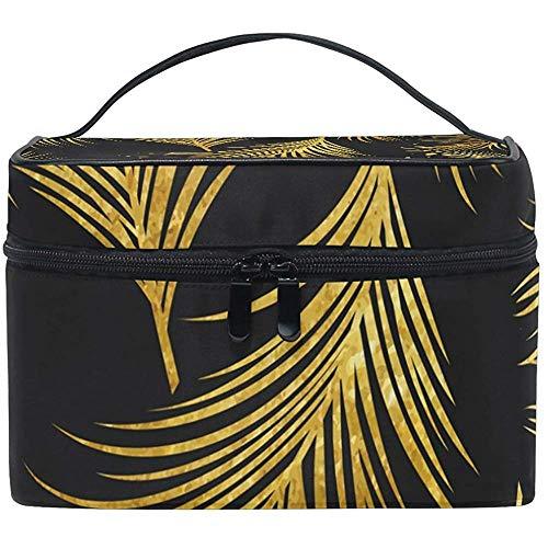 Sacs de Maquillage de Voyage avec Fermeture éclair Golden Palm Leaves Seamless Pattern Cosmetic Bag Portable Multifunction Case