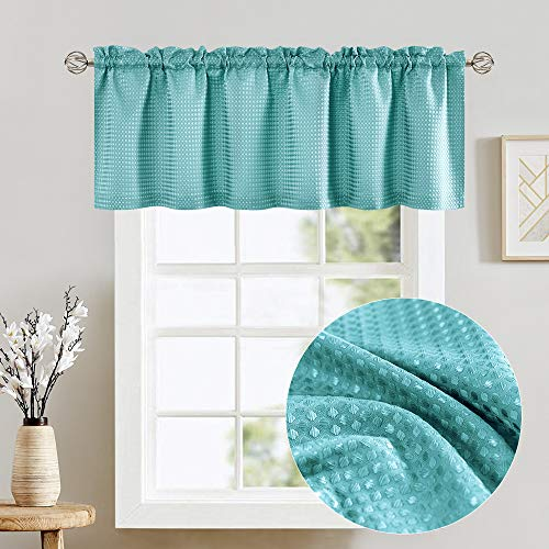 Turquoise Blue Waffle Weave Textured Valance for Bathroom Water Repellent Window Covering for Kitchen 1 Panel 60'x 18'
