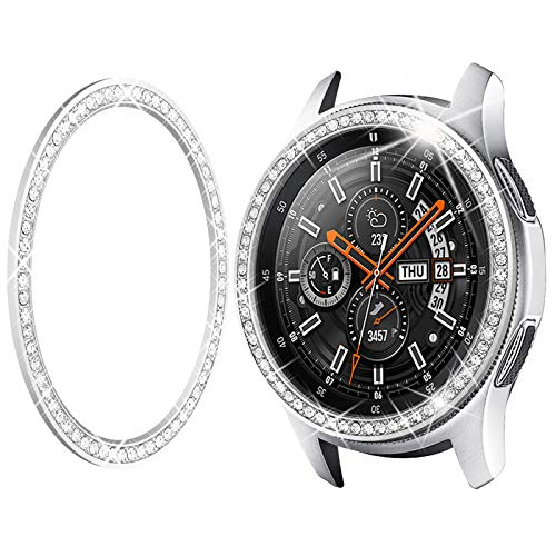 Goton Bezel Ring Compatible Samsung Galaxy Watch3 45mm Bezel, Gear S3 Frontier Classic, Crystal Bling Diamond Women Men Watch Bezel Cover Protector (46mm/45mm,Silver)