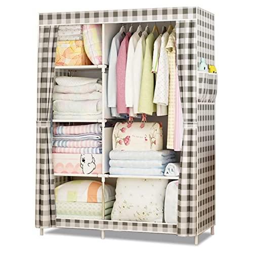 Armario de Tela Plegable Ropa Organizador Armario de armario portátil, organizador de almacenamiento de armario, armario de tela, almacenamiento de ropa for bebés con 6 estantes y riel colgante robust