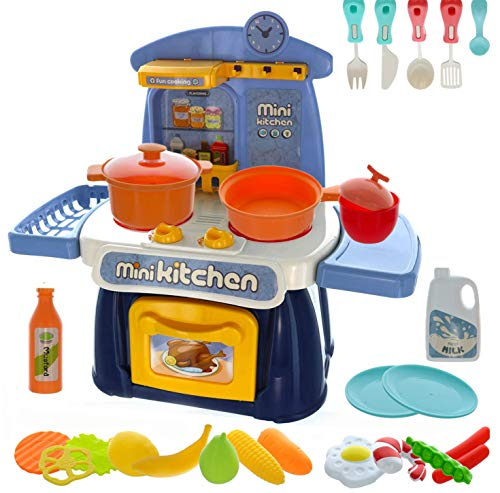 GiftExpress Kids Mini Kitchen Playset with Realistic Sounds and Lights, Dollhouse Kitchen Pretend Play Toys with 26 pcs Accessories, Cookware Stove Food Cooking Toys for Chef Role Play