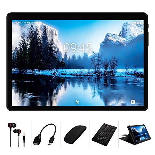 tablet windows Tablet 10 Pollici con wifi offerte YESTEL X7 Android 8.1 Tablets con 4GB RAM 64GB ROM+ Espanso 128 GB LET Dual SIM 8000mAh(WiFi/Bluetooth/GPS)-con Tastiera e Mouse-Nero