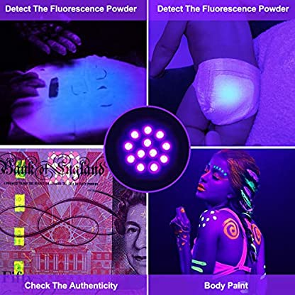 (2 Pack) UV Torch, Fulighture Pets Black Light 12LED 395nm, Dogs/Cats Urine Detector, Ultraviolet Flashlight Find Dry Stains on Carpets/Rugs/Floor with Batteries Included 5