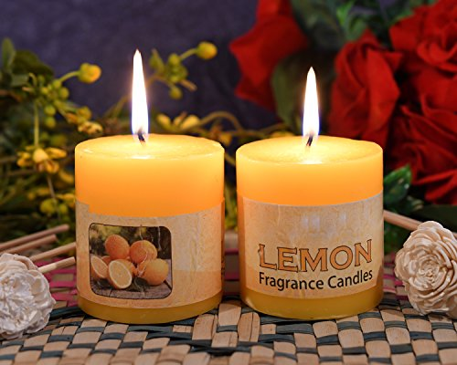 CraftVatika Set Of 2 Lemon Fragrance Pillar Candle Long Lasting Burning Scented Candles Home Office Table Centerpieces Birthday Parties Decor