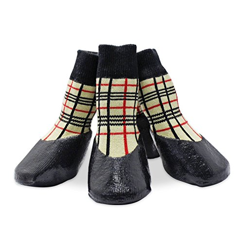 KEESIN Haustier-Hundewelpen wasserdichte Anti-Rutsch-Sportsocken Schuhe Stiefel, Gummisohle, Paw-Schutz für Small/Medium/Large Hund (#2, Plaid)