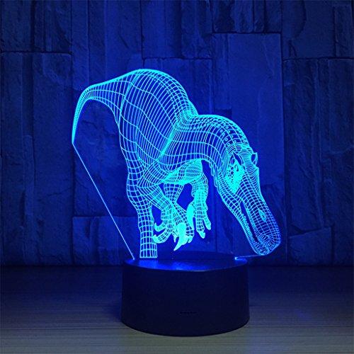 LT&NT Lampe 3D Dinosaure Illusion d'Optique LED Lights Table Lampe veilleuse 7 Couleurs changeantes USB Tactile noël Cadeaux d'Anniversaire pour Les Enfants -Toucher
