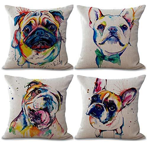 Gspirit 4 Pack Perro Algodón Lino Decorativo Throw Pillow Case Funda de Almohada para Cojín 45x45 cm