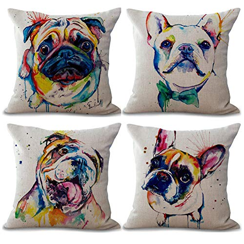 Gspirit 4 Pack Perro Algodón Lino Decorativo Throw Pillow Case Funda de Almohada para Cojín 45x45 cm