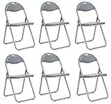 Lot de 6 pliable et matelassée Chaises fauteuils de bureau pliants en faux cuir assortis Gris