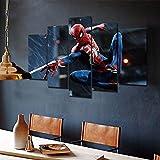JIONGJIONG Tableau Imprimé XXL Tableau 5 Parties Toile Murale Grand Spiderman Encadré Decor, Tableau Decor, Canvas 150X80 Cm,Tableau Tableaux Decor Murale Salon Moderne XXL,Encadré