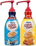 Coffee Mate Liquid Concentrate 1.5 Liter Pump Bottle - 2 Variety Pack Hazelnut & French Vanilla