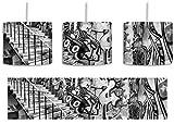 Monocrome, Coloured Streetart, Graffiti inkl. Lampenfassung E27, Lampe mit Motivdruck, tolle Deckenlampe, Hängelampe, Pendelleuchte - Durchmesser 30cm - Dekoration mit Licht ideal für Wohnzimmer, Kinderzimmer, Schlafzimmer