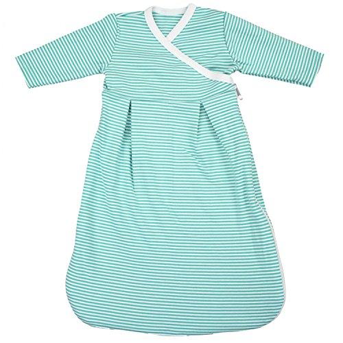 TupTam Baby Unisex Langarm Innenschlafsack, Farbe: Streifenmuster Grün, Größe: 50-56