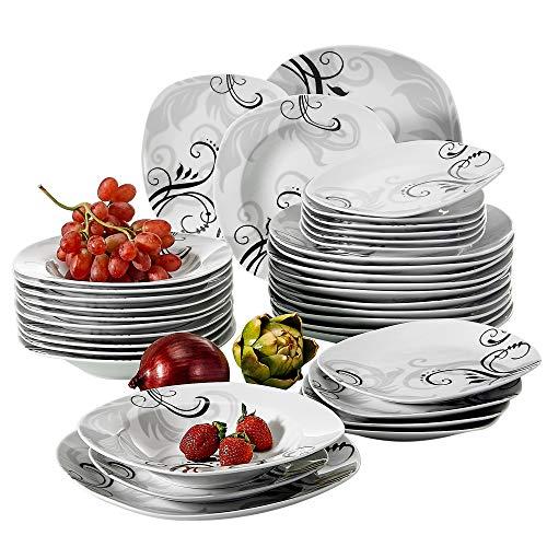 VEWEET Tafelservice 'Zoey' aus Porzellan 36 teilig | Tellerset für 12 Personen | Mit je 12 Dessertteller, Tiefteller und Flachteller …