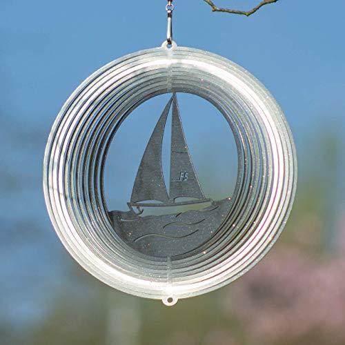 Edelstahl Windspiel – SEGELBOOT 180 – lichtreflektierend – Abmessung: 18x19cm – inkl. Aufhängung - 2