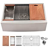 Lordear 30 inch Apron Front Ledge Workstation Deep Single Bowl 16 Gauge Stainless Steel Luxury Kitchen Farm Sink