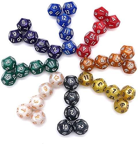 DollaTek Paquete Surtido de 40 Piezas de Dados de 12 Caras - Surtido Multicolor de Dados poliédricos D12 (8 Colores, 5 Piezas por 1 Color)
