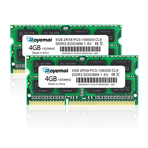 2x4GB PC3-10600 DDR3 1333mhz 8GB 10600S 2Rx8 204ピン 1.5v CL9 RAM メモリモジュールのラップトップ用アップグレード