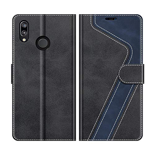 MOBESV Handyhülle für Huawei P20 Lite Hülle Leder, Huawei P20 Lite Klapphülle Handytasche Case für Huawei P20 Lite Handy Hüllen, Modisch Schwarz