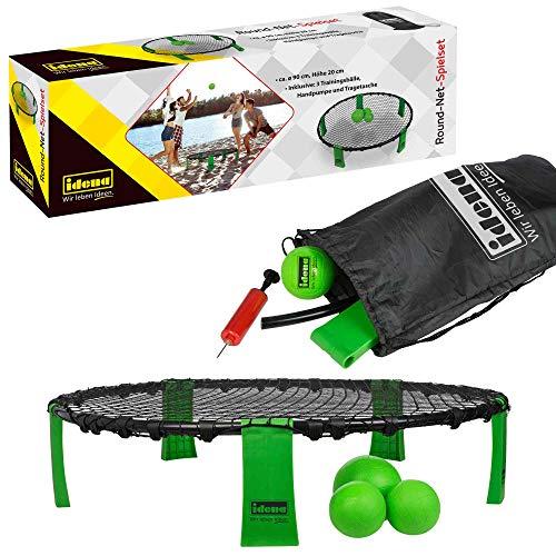 Idena 40182 - Roundnet-Spielset in praktischer Transporttasche, mit Zubehör und Regelheft, grün-schwarz, lebhaftes, actionreiches Trendsportspiel für alle Altersstufen für drinnen und draußen