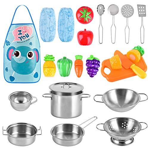 BGdoyz Küchenspielzeug Küche Pretend Spielzeug Kinderküche Kochgeschirr Edelstahl Töpfe und Pfannen Set Schürze und Lebensmittel für Kinder, Mädchen und Jungen