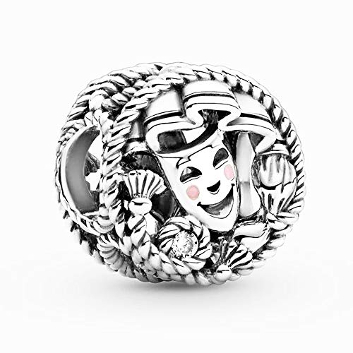 BAKCCI 2021Spring Comedy & Tragy Drama Masken Bead 925 Silber DIY passend für Original Pandora Armbänder Charm Modeschmuck