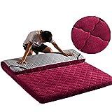 PLLXY Plegable Tatamis De Piso,futón Japonés Espesado Sobrecolchón Sleeping Pad Plegable Portátil Plegable Grueso-Vino Tinto 90x200cm(35x79inch)