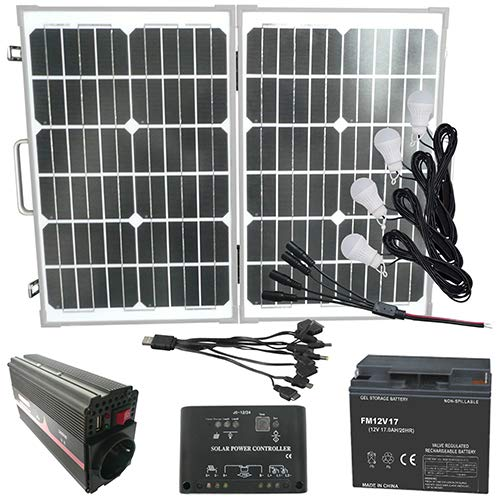 Mauk Solar-Set 50 W mit 4 LED Leuchten - USB- Adapter und Spannungswandler