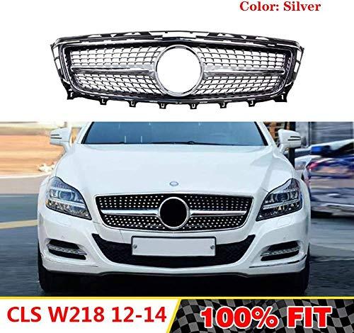HYNB Diamond grille front grill geschikt voor Mercedes CLS klasse W218 2011-2014 W218 CLS 250 CLS300 CLS350 zonder embleem, zilver, zilver